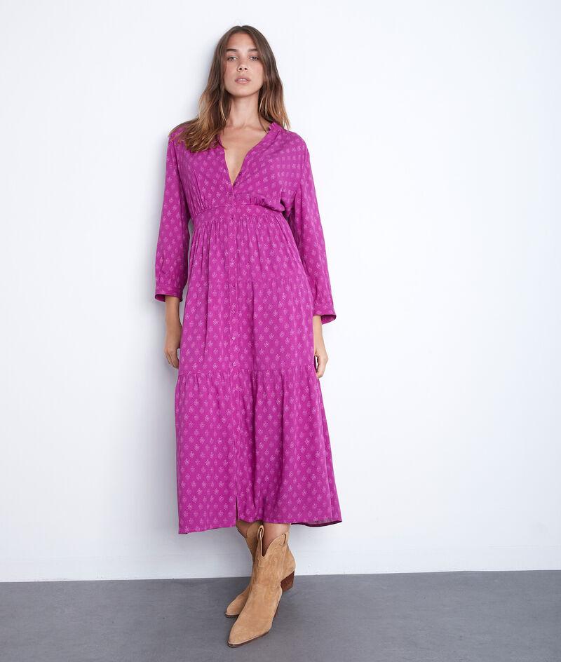 Robe longue fluide imprimée fuschia Carola PhotoZ | 1-2-3