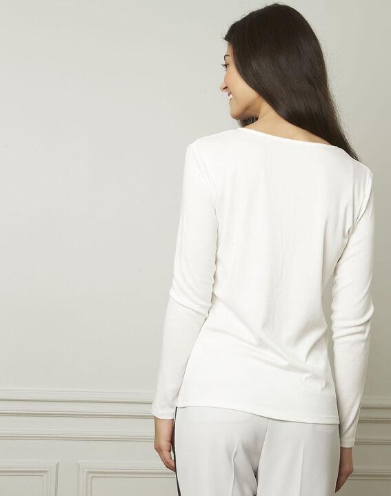 Tee-shirt écru encolure V lurex Etincelante (3) - Maison 123