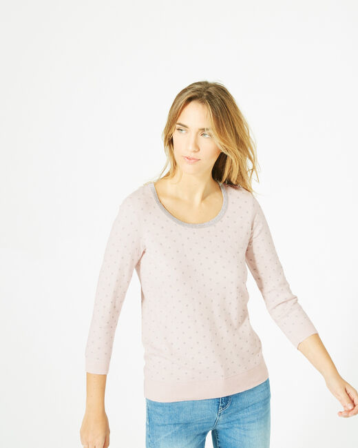 Prisme pale pink sweater with silver polka dot detailing and a rounded neckline (1) - 1-2-3