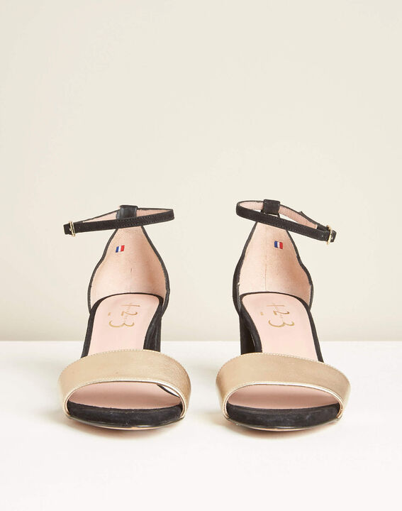 Zwarte en gouden leren sandalen met hak Khloe (2) - 37653