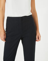 Vicky tailored black trousers with fine stripes black/white.