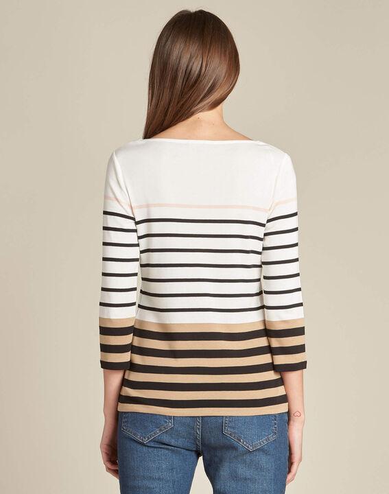 Ecrufarbenes Streifen-T-Shirt Esayat (4) - 1-2-3