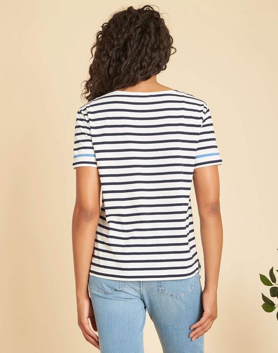 Tee-shirt marine rayé imprimé Emerine (3) - 1-2-3