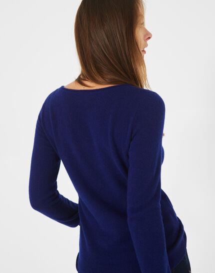 Petunia ink blue cashmere sweater with round neck (4) - 1-2-3