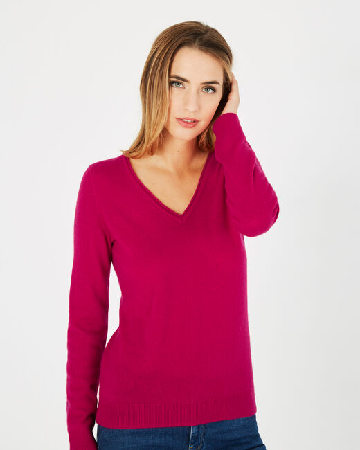 Pivoine fuchsia V-neck sweater in cashmere (1) - 1-2-3