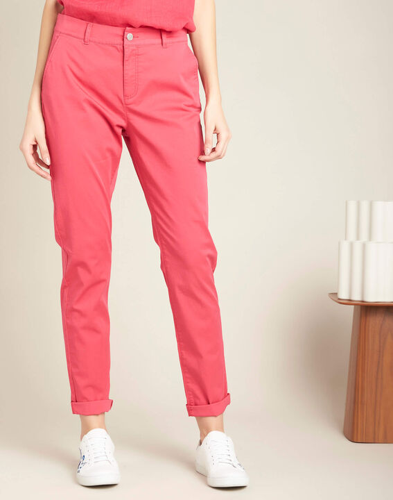 Francis slim-cut belted cotton trousers in fuchsia (3) - 1-2-3