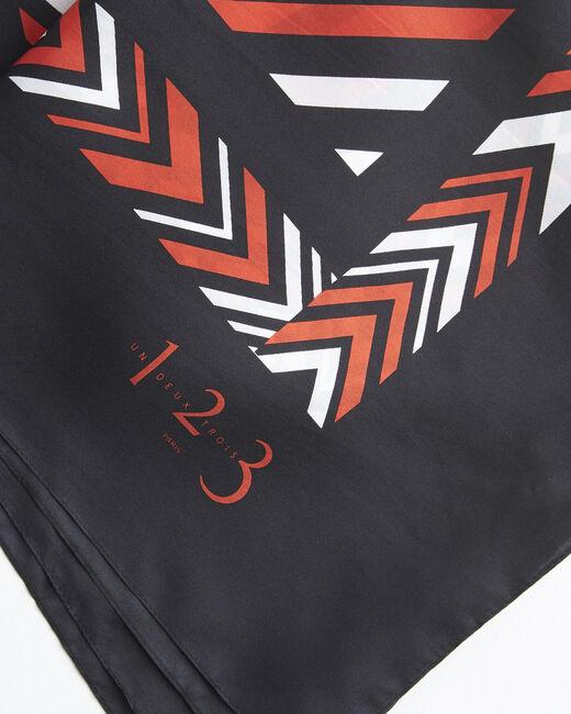 Amadeus orange graphic printed square scarf in silk (1) - 1-2-3