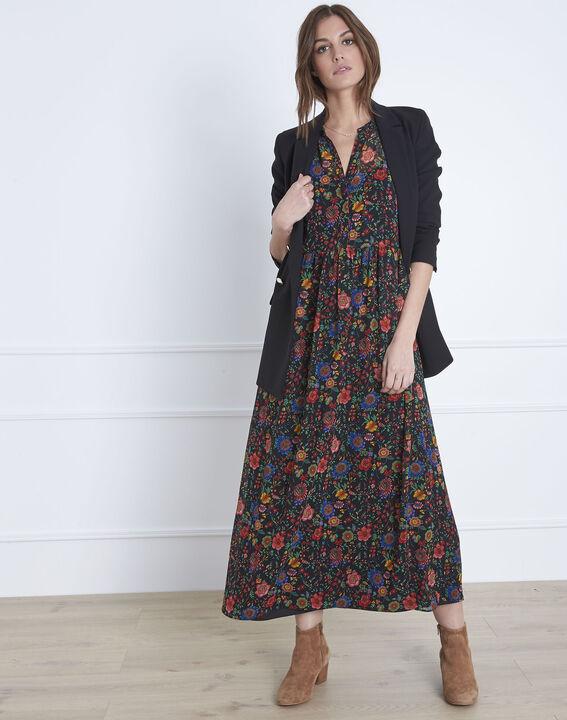Langes schwarzes Kleid mit Blumen-Print Libra (5) - Maison 123