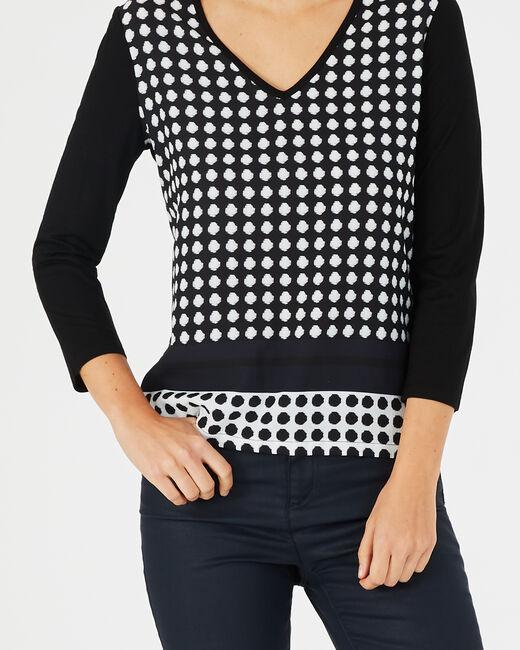 Tee-shirt noir et blanc imprimé pois Balloon (2) - 1-2-3