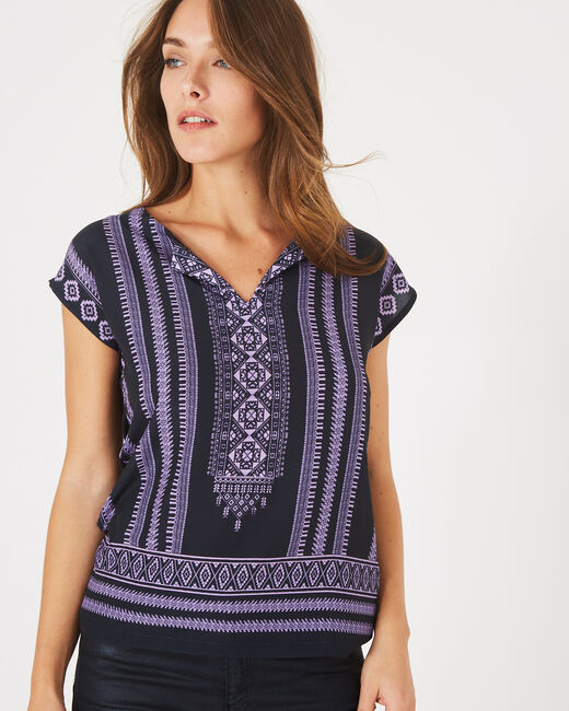 Bayron navy blue T-shirt with ethnic print (2) - 1-2-3