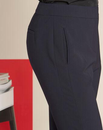 Vasco straight-cut navy microfibre trousers navy.