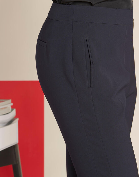 Vasco straight-cut navy microfibre trousers (1) - 1-2-3