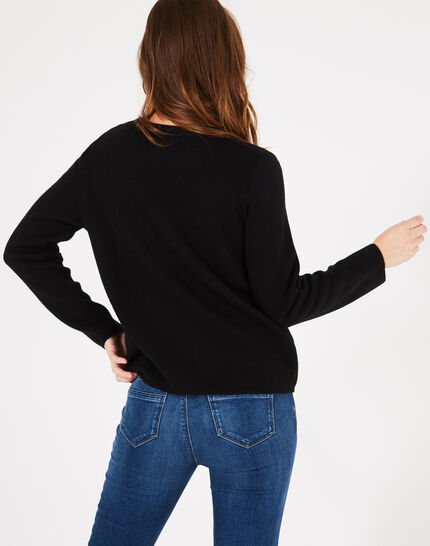 Pull noir col rond broderie Perruche (3) - 1-2-3