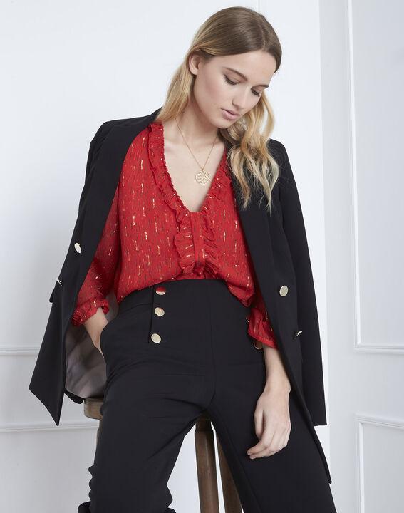 Rote Bluse mit Lurex-Details und Volants Vidal (2) - Maison 123