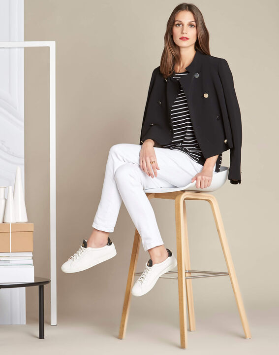 Enjeu fine black striped sweater with decorative band along the neckline (2) - 1-2-3