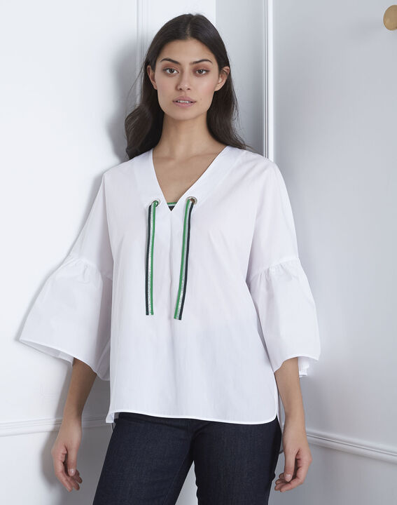 Blouse blanche popeline noeud Vianna (2) - Maison 123