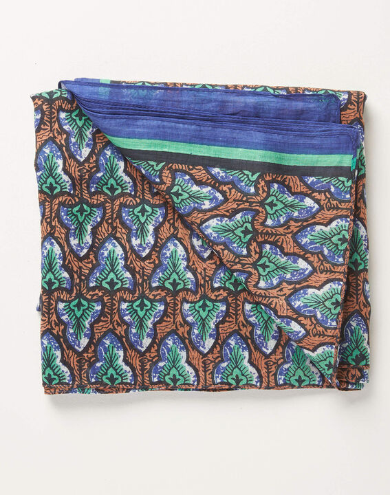Amelia navy blue printed ottoman cotton scarf (3) - 1-2-3