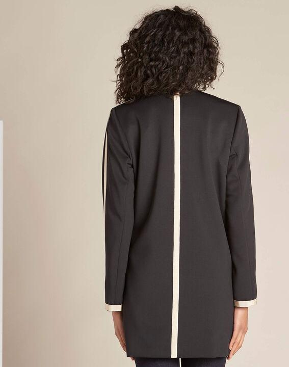 Schwarzer und beigefarbener Mantel mit geradem Schnitt Kolin (4) - 1-2-3