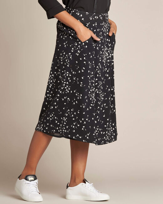 Lassie gingko print black midi skirt (2) - 1-2-3