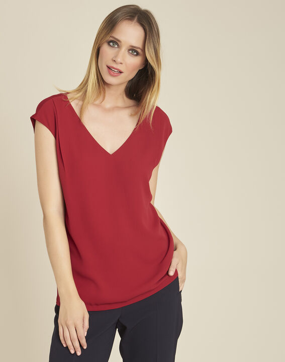 Neptune cherry dual-fabric nude blouse with V-neck PhotoZ | 1-2-3