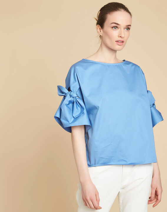 Garibaldi sky blue blouse with decorative sleeves (3) - 1-2-3