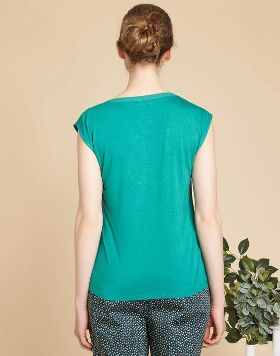 Blaues T-Shirt mit Netzstreifen am Ausschnitt Bianca (4) - 1-2-3