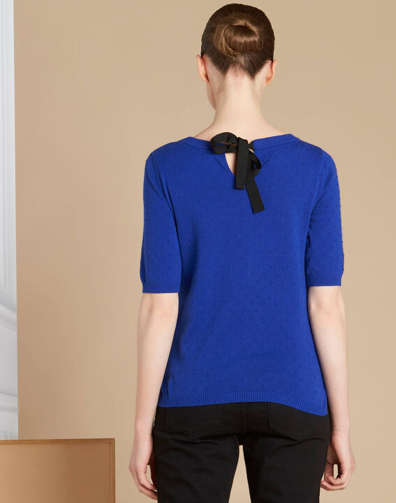 Nadia royal blue sweater with bow detail on the back (4) - 1-2-3