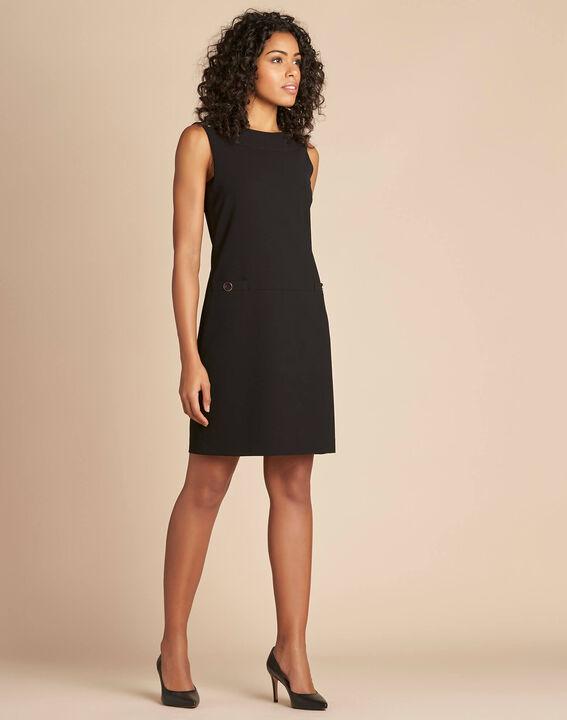 Schwarzes gerades ärmelloses Kleid Prisca (3) - 1-2-3