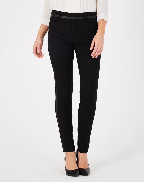Pantalon noir imitation cuir slim kali à