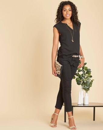 Tee-shirt noire bimatière manches courtes col résille bianca noir.