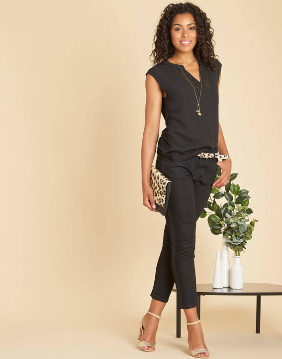 Bianca short-sleeved, black, dual-fabric T-shirt with a mesh collar  (2) - 1-2-3