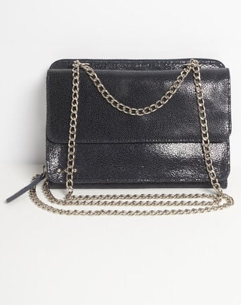 Darling navy blue leather bag with chain navy.