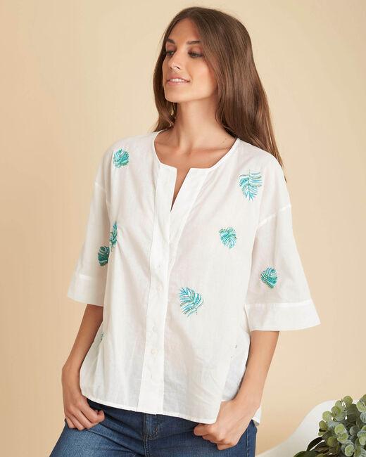Ecru overhemd met borduurwerk Galadriel (2) - 37653