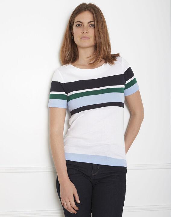Tee-shirt vert rayé Gasayat PhotoZ | 1-2-3