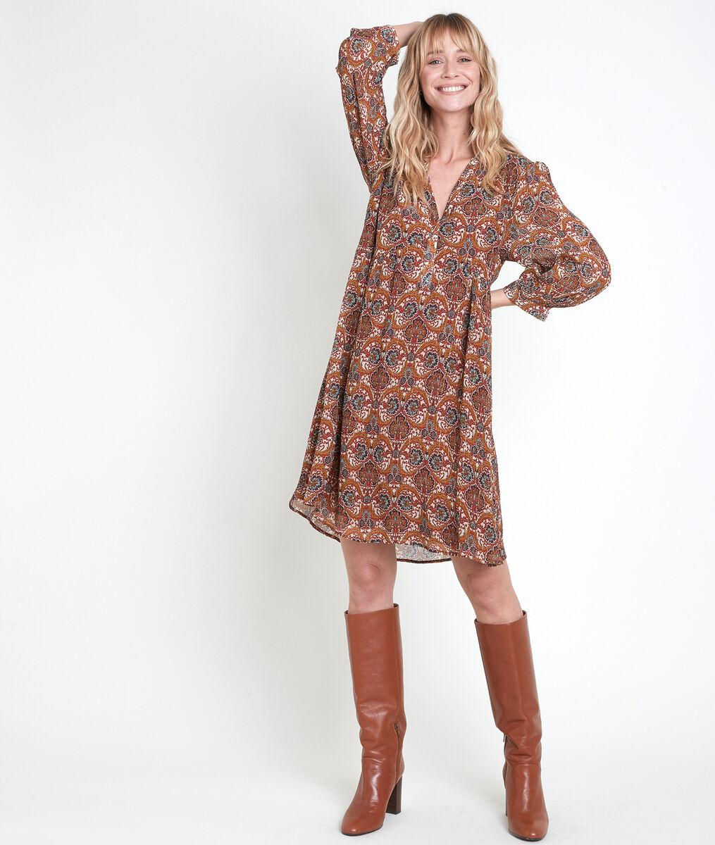Robe imprimée camel Calypso PhotoZ | 1-2-3