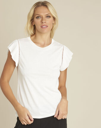 Grease white t-shirt with ruffle sleeves off white.