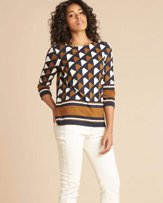 Camel blouse met grafische print Evita (2) - 37653