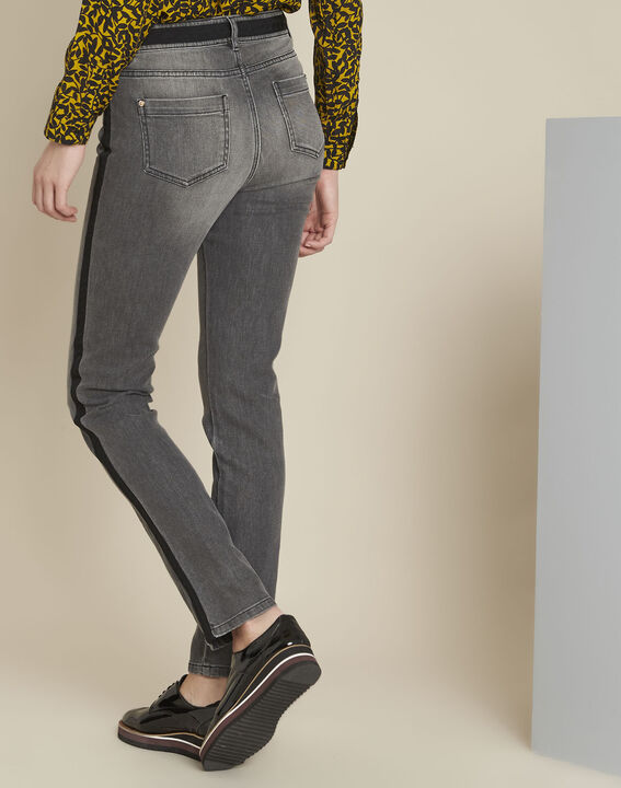 Vivienne grey slim-cut jeans with sidebands (4) - 1-2-3