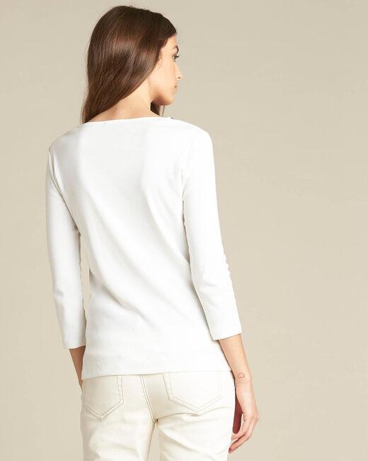 T-shirt écru encolure oeillets Basic (2) - 1-2-3