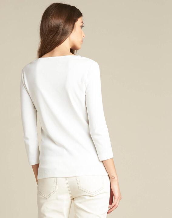 Ecrufarbenes T-Shirt mit Ösen Basic (3) - 1-2-3