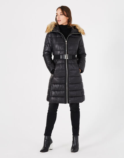 Louna long black puffer jacket with faux fur (2) - 1-2-3