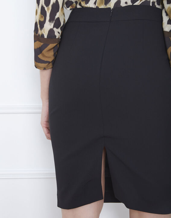 Fancy black straight-cut skirt with lateral band in microfibre (4) - 1-2-3