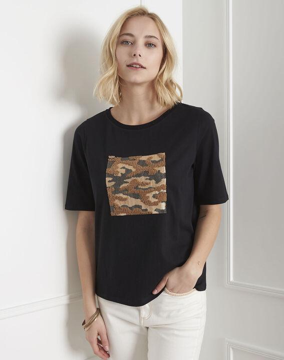 Tee-shirt noir imprimé sequins Paillote PhotoZ | 1-2-3