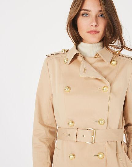 Beigefarbener halblanger Trenchcoat Julie (2) - 1-2-3