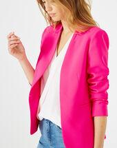 Veste rose fluo en crêpe clara prune fonce.