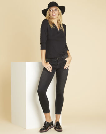 Vendôme dark grey jeans with studded detailing coal.