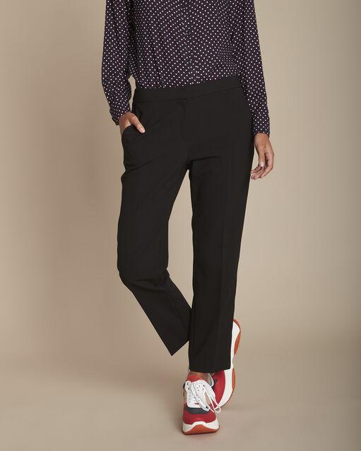Pantalon noir et sa bande latérale microfibre Suzanne (1) - 1-2-3
