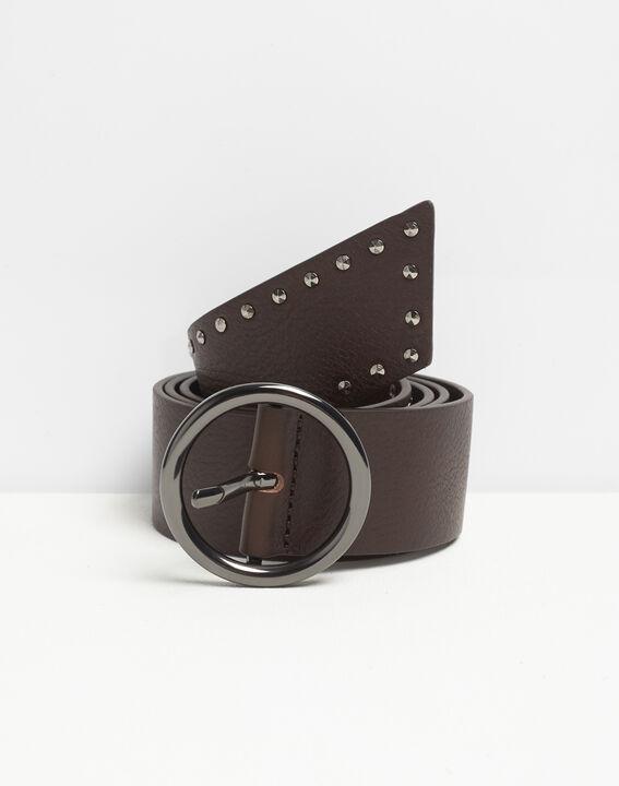 Raphael wide dark brown leather studded belt PhotoZ | 1-2-3