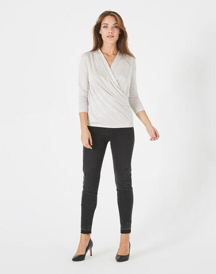 Tee-shirt gris pâle drapé façon cache-coeur Bomba (1) - 1-2-3