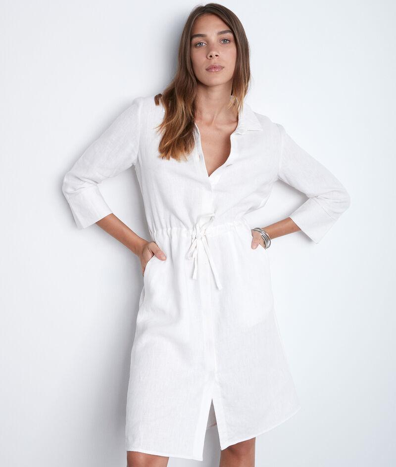 Robe chemise en lin blanche Luna PhotoZ | 1-2-3